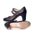 Zapato flamenco piel doble tira hebilla