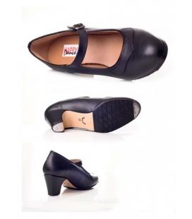 Zapato flamenco piel punta de pico y hebilla
