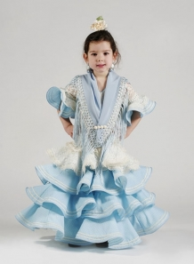 traje de sevillana niña Hinojo