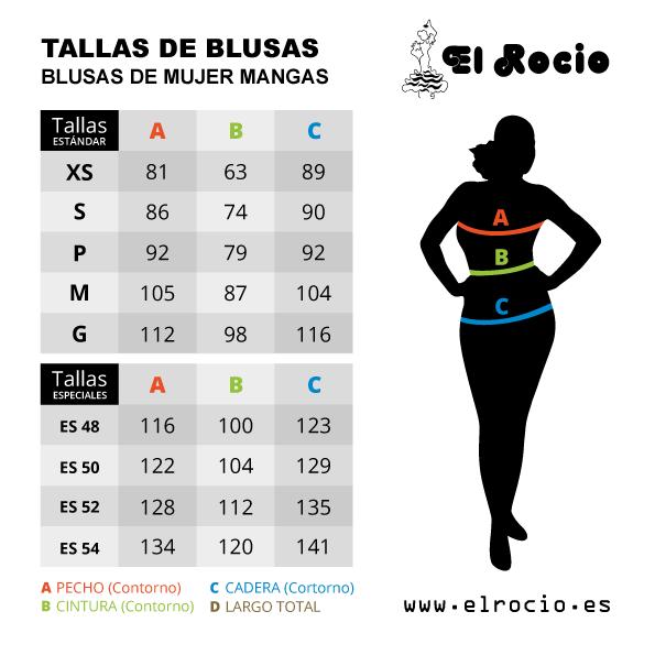 blusas flamencas, modelo m5, guía de tallas