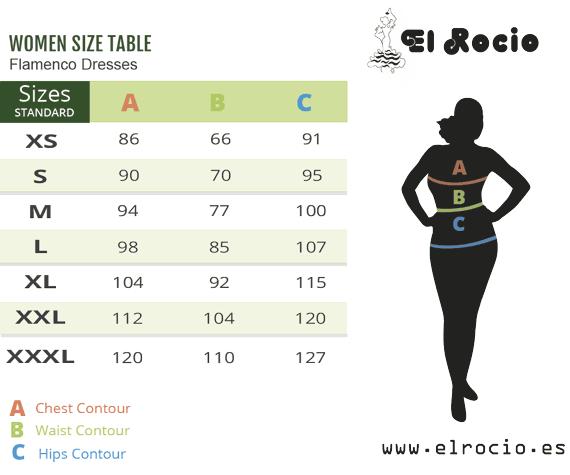 flamenco costume sizes