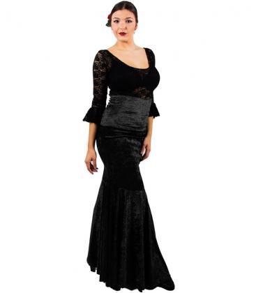 falda de flamenco en terciopelo