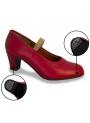 Zapatos de Flamenco de Piel con Clavos rojo 43