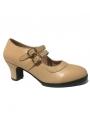 Zapato De Flamenco Doble Suela 2 correas beig 36