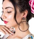 Pendiente de flamenco de aro con cristales