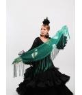 Mantón Flamenco de Plumeti verde agua