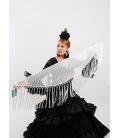 Mantón Flamenco de Plumeti blanco
