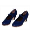Zapatos de Flamenco Mercedes de Gallardo en Piel Azules