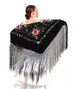 Mantón de manila negro estampado