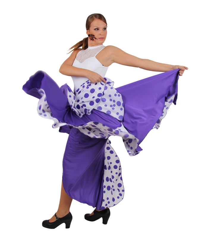 Faldas de flamenca malva con lunares de 8 nesgas