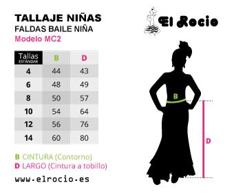 tallas falda de flamenca niña