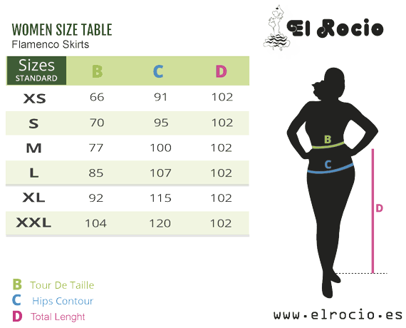 flamenco skirt sizes
