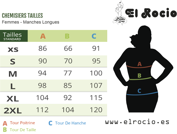 chemisiers flamenco tailles - femmes goyesca blouse