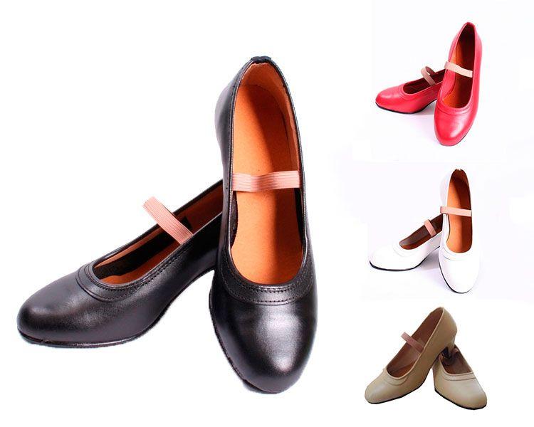 Zapatos flamenco de piel de diferentes colores con clavos